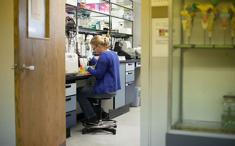 Woman sitting at desk inside science lab