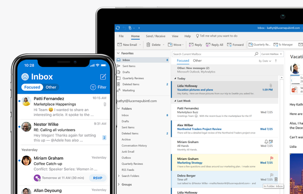 An email inbox is pictured on a mobile phone screen and a laptop screen