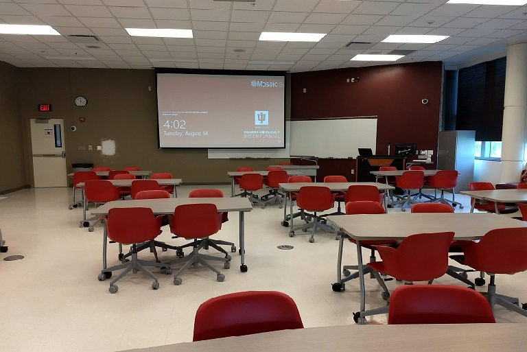 Learning space CH102 in Cedar Hall on IU Bloomington campus.
