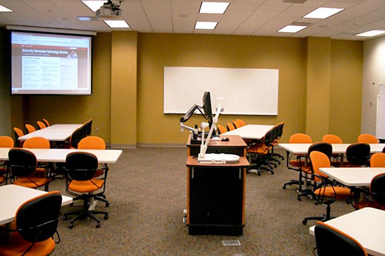 Learn Lab classroom C002 at Cedar Hall Union Street Center on IU Bloomington campus.
